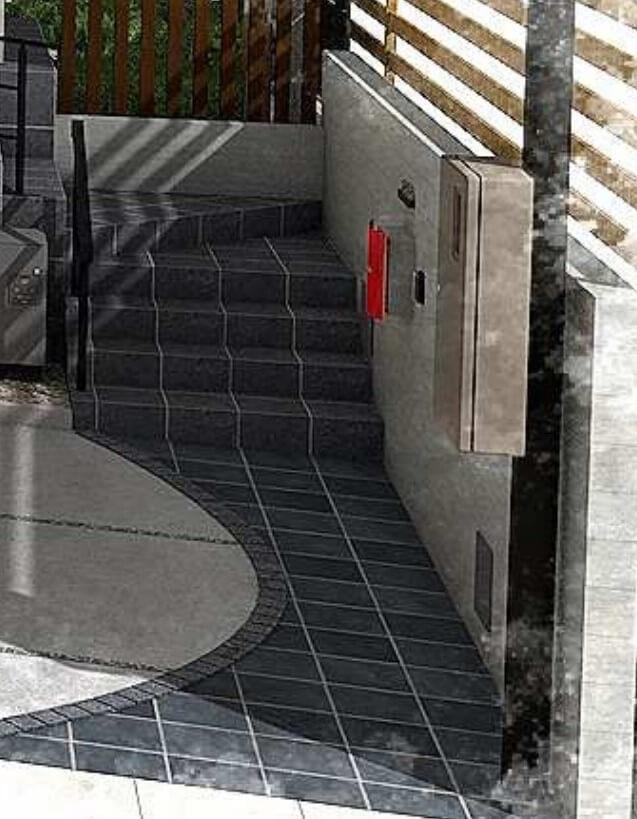 階段部分の石(パース図)